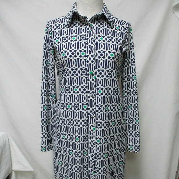 Jude Connally knit button collared dress knee Md